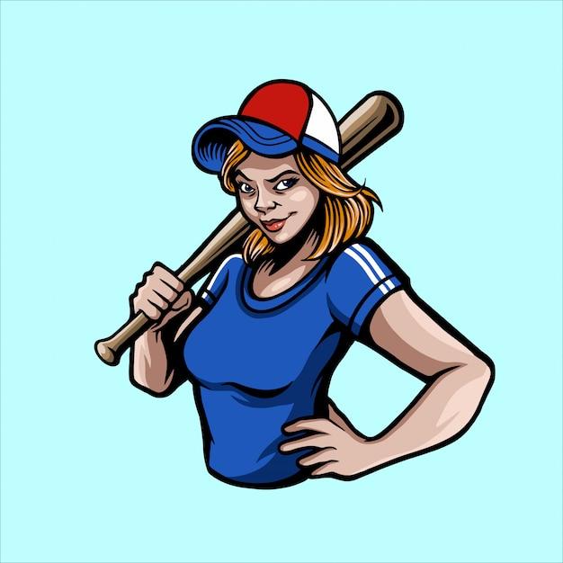 Fille de baseball Vecteur Premium
