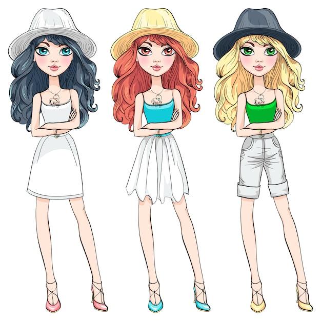 Fille Belle Mode Vecteur Avec Chapeau Vecteur Premium