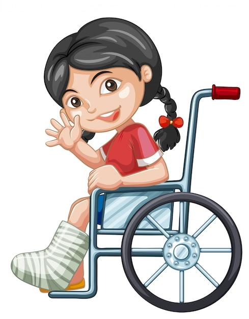 Fille blessée sur une chaise roulante Vecteur Premium