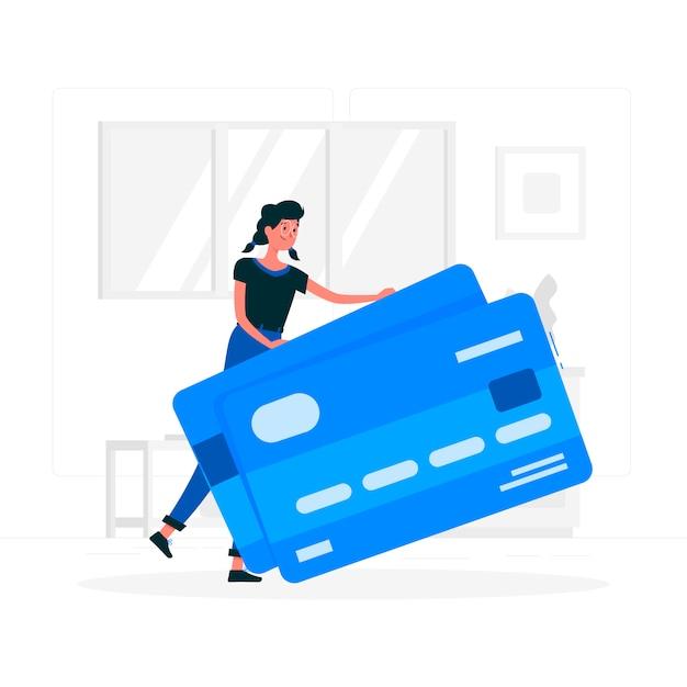 Fille bleue avec style plat de carte de crédit Vecteur gratuit