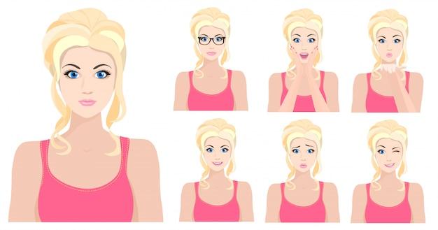 Fille blonde avec différentes émotions du visage Vecteur Premium