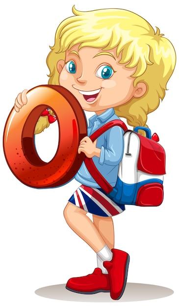 Fille Blonde Tenant Le Numéro De Maths Zéro Vecteur gratuit