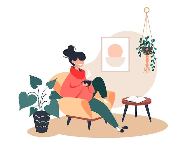 Fille De Boire Du Thé Chaud Assis Dans Un Fauteuil, Rester à La Maison, Intérieur De La Chambre Confortable Vecteur Premium