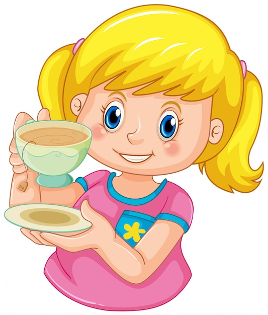 Une fille boire du thé Vecteur gratuit