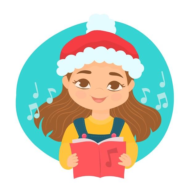 Une Fille Chantant Des Chants De Noël Vecteur Premium