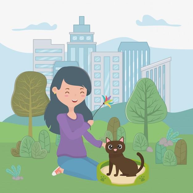 Fille avec chat de dessin animé Vecteur gratuit