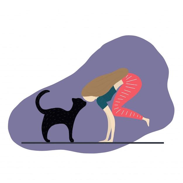 Fille et chat font des exercices Vecteur Premium