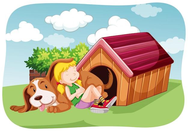 Fille et chien dans le jardin Vecteur gratuit