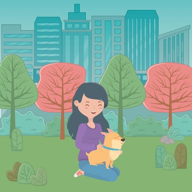 Fille avec chien de dessin animé Vecteur gratuit