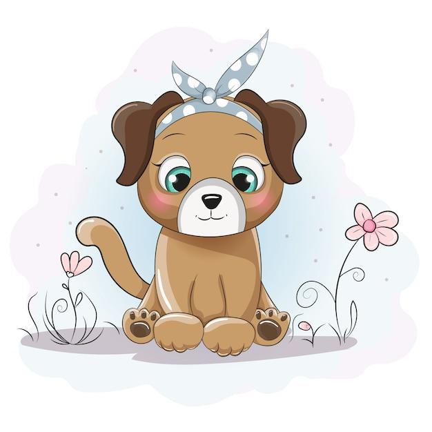 Fille de chiot mignon dessin animé avec un bandana sur le champ de la fleur  Vecteur