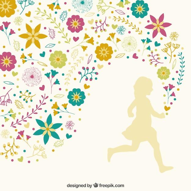 Fille courir avec décoration florale Vecteur gratuit