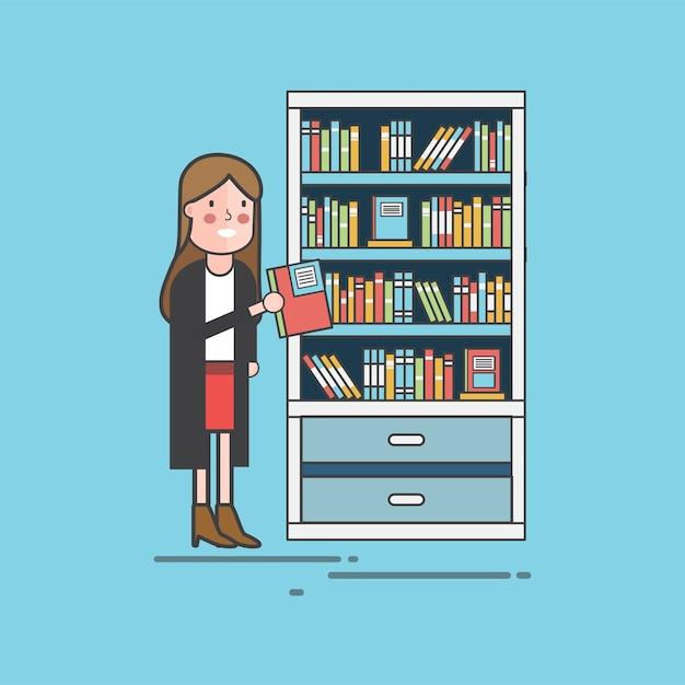 Fille cueillette d'un livre Vecteur gratuit