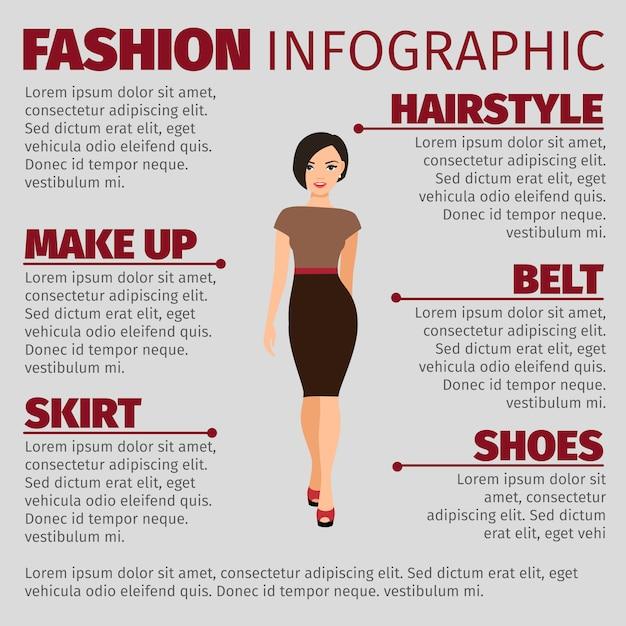 Fille dans le modèle d'infographie fashion robe marron Vecteur Premium