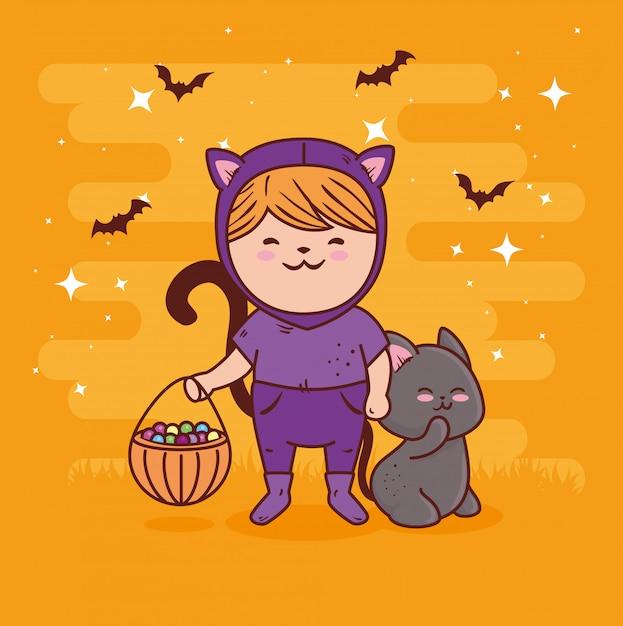 Fille Déguisée De Chat Mignon Pour Joyeuse Fête D'halloween Avec Chat Animal Et Bonbons Vector Illustration Design Vecteur Premium