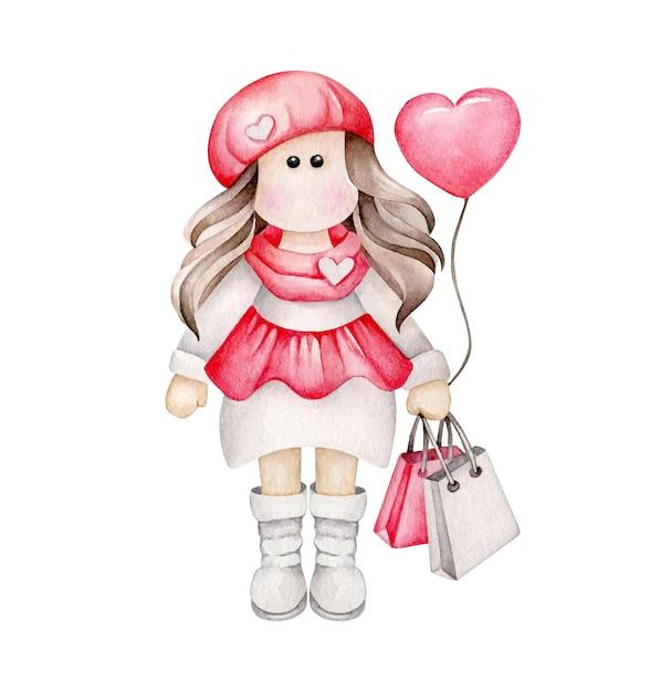 Fille De Dessin Animé Aquarelle Avec Ballon Coeur Et Sacs à Provisions Vecteur Premium