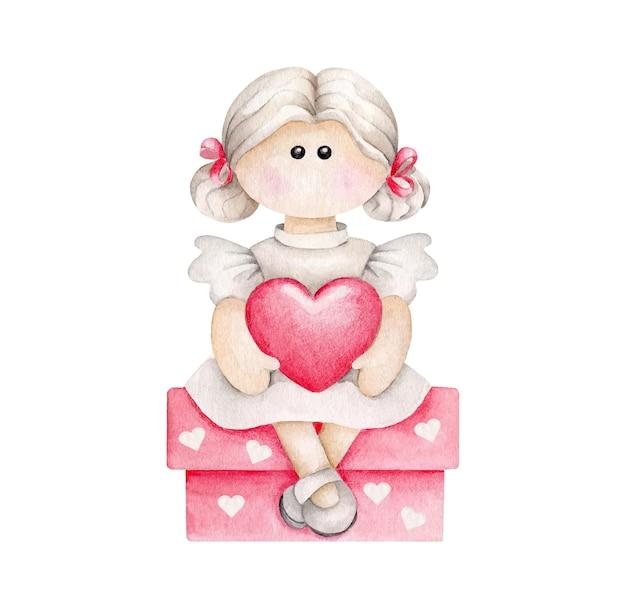 Fille De Dessin Animé Aquarelle Avec Coeur Assis Sur Une Boîte Cadeau Vecteur Premium