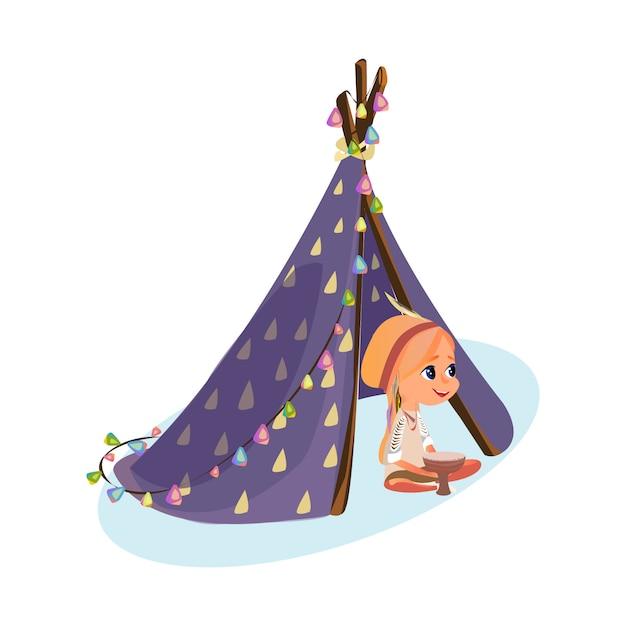 Fille de dessin animé en costume amérindien Vecteur Premium