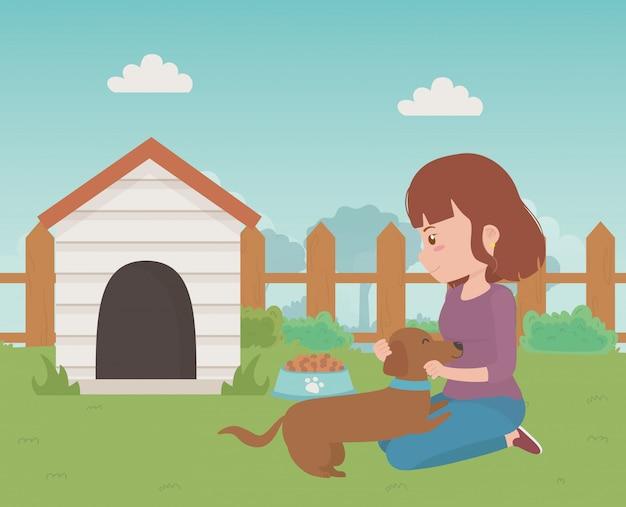 Fille avec dessin de chien Vecteur gratuit