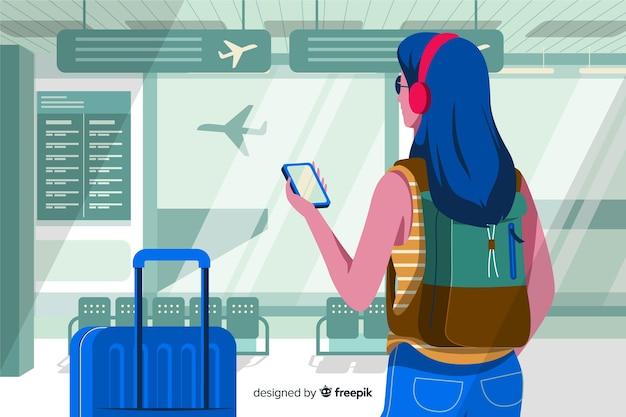 Fille dessinée à la main à l'aéroport Vecteur gratuit