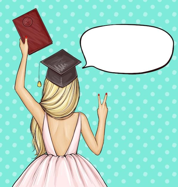 Fille Diplômée En Chapeau De Graduation Avec Diplôme Vecteur gratuit
