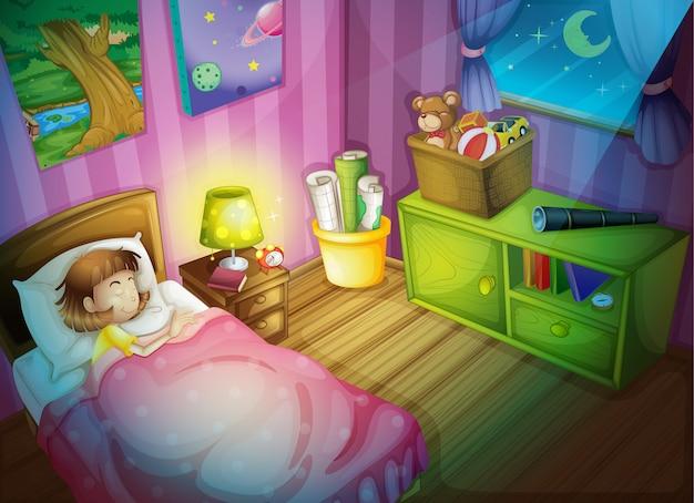 Fille dormant dans la chambre à coucher la nuit Vecteur Premium