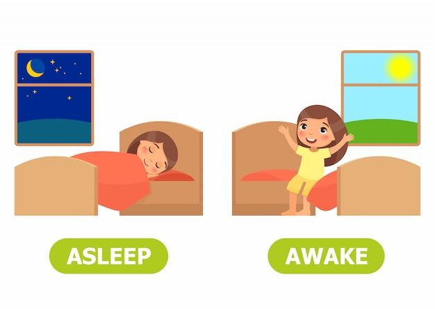 Fille dort sur le lit, fille se réveille et s'assoit sur le lit Vecteur Premium
