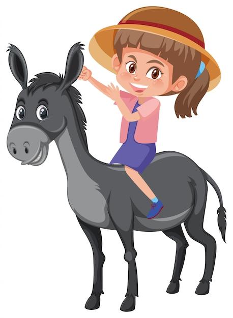 Une fille à dos d'âne Vecteur Premium