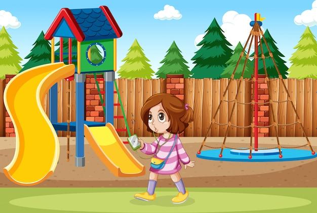 Une fille écoute de la musique au parc Vecteur gratuit