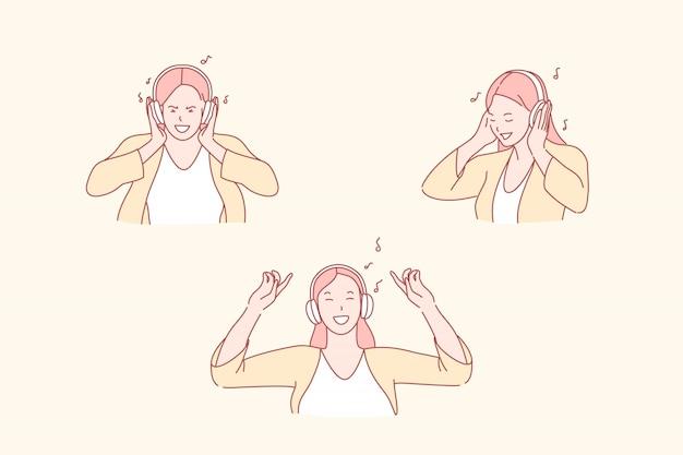 Fille, écouter Musique, à, écouteurs, Illustration Vecteur Premium