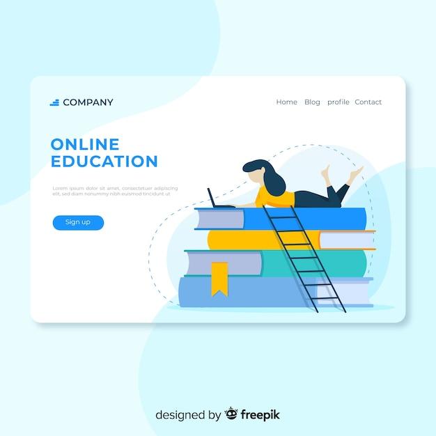 Fille d'éducation en ligne plate lecture page d'atterrissage Vecteur gratuit