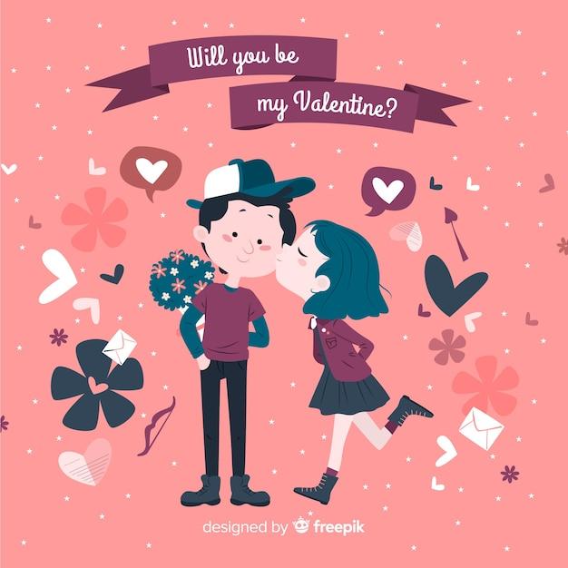 Fille embrassant garçon saint valentin Vecteur gratuit