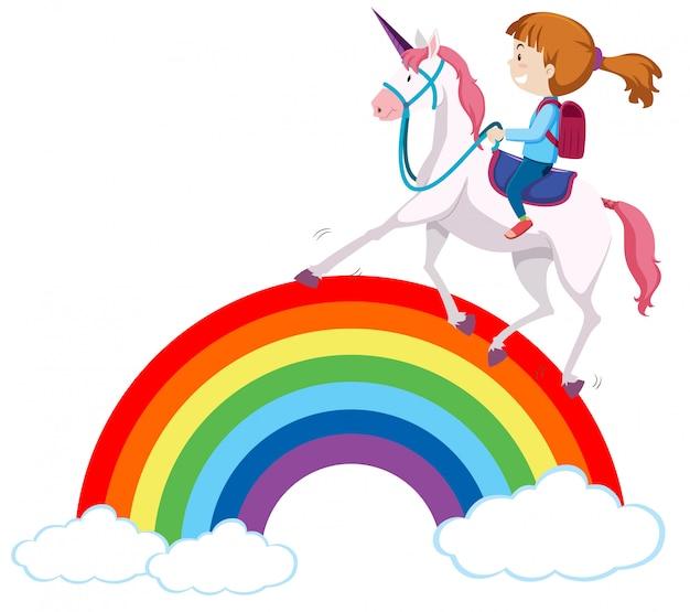 Fille équitation licorne sur arc-en-ciel Vecteur Premium