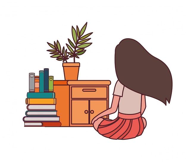 Fille étudiante assise sur le dos avec une pile de livres Vecteur gratuit