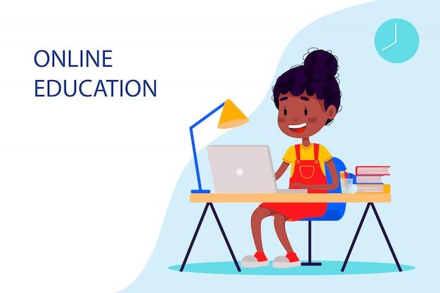 Fille étudie En Ligne Avec L'ordinateur Portable Près De La Table. Plate Illustration Vectorielle Pour Les Sites Web. Vecteur Premium