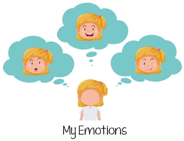 Fille Avec Une Expression Faciale Différente Vecteur gratuit