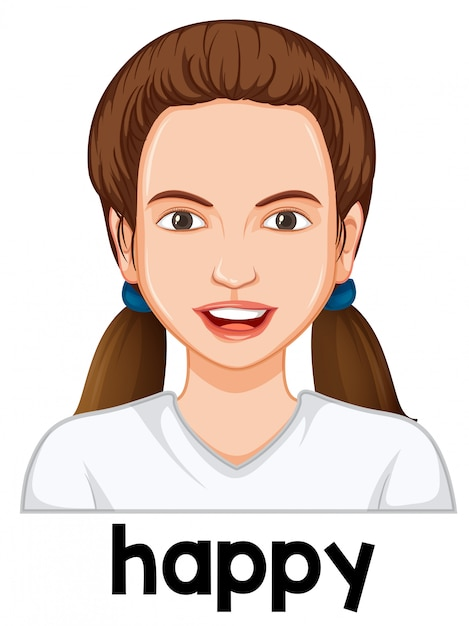 Une fille avec une expression faciale heureuse Vecteur gratuit