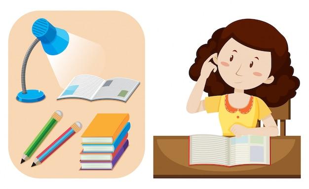 Fille à faire leurs devoirs sur la table Vecteur gratuit