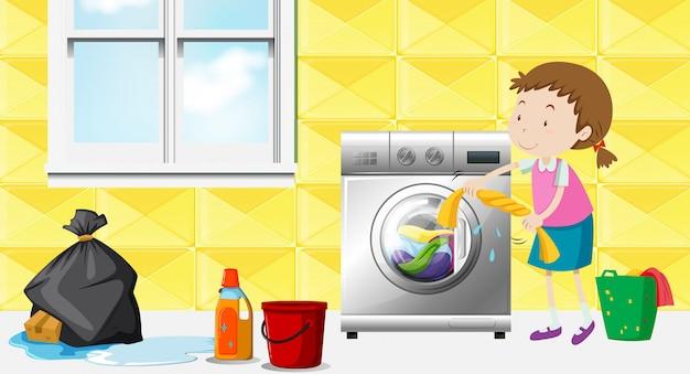Fille faisant la lessive dans la chambre Vecteur gratuit