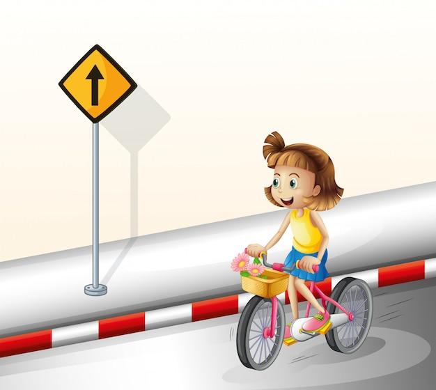 Une fille fait du vélo sur la route Vecteur gratuit