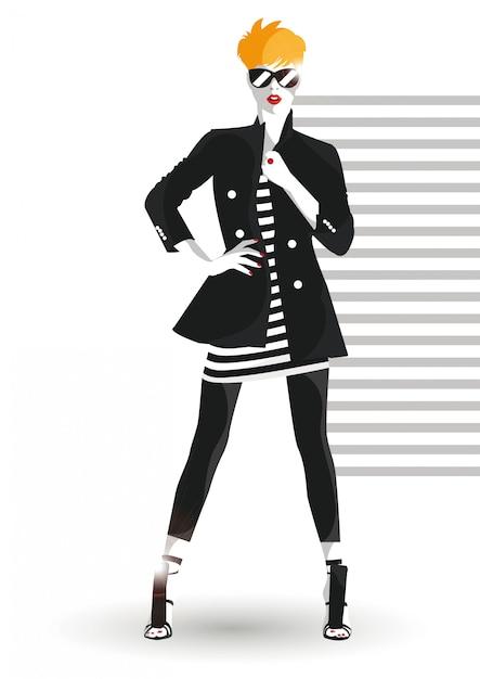 Fille Fashion En Style Croquis. Vecteur Premium