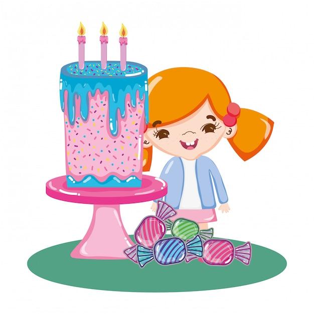 Fille à la fête avec des gâteaux et des bonbons Vecteur Premium