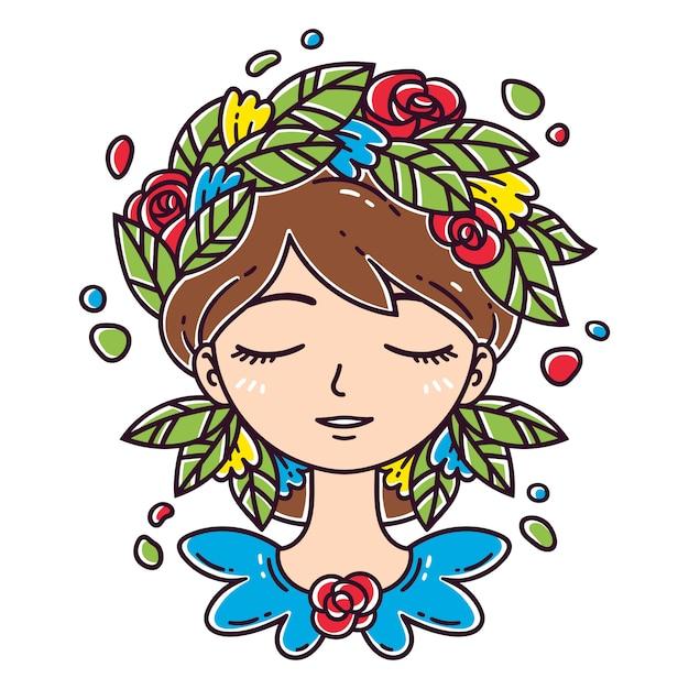 Fille avec fleur dans les cheveux Vecteur Premium