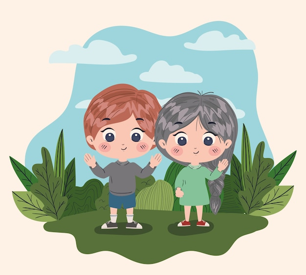 Fille Et Garcon Dessin Anime Amitie Ensemble Amis Gens Heureux Et Jeune Illustration Vecteur Premium