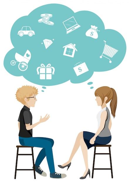Une fille et un garçon qui parlent d'affaires Vecteur gratuit