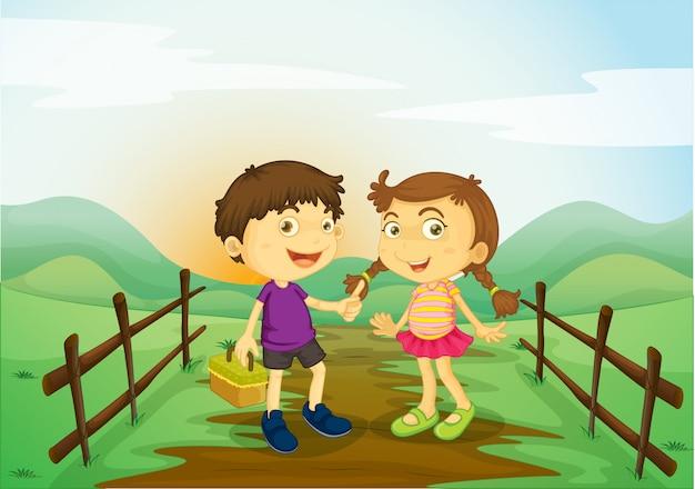 Une fille et un garçon Vecteur gratuit