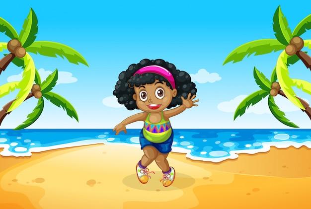 Une fille grassouillet à la plage Vecteur gratuit