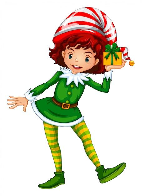 Fille, habillé, dans, elf, tenue, tenue, boîte présente Vecteur gratuit