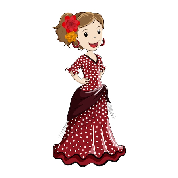 Fille habillée en costume espagnol traditionnel Vecteur Premium