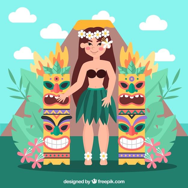 Fille hawaïenne avec totems tiki Vecteur gratuit
