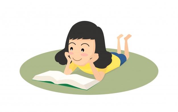 Fille Heureuse De Dessin Anime Lire Un Livre Sur Le Sol
